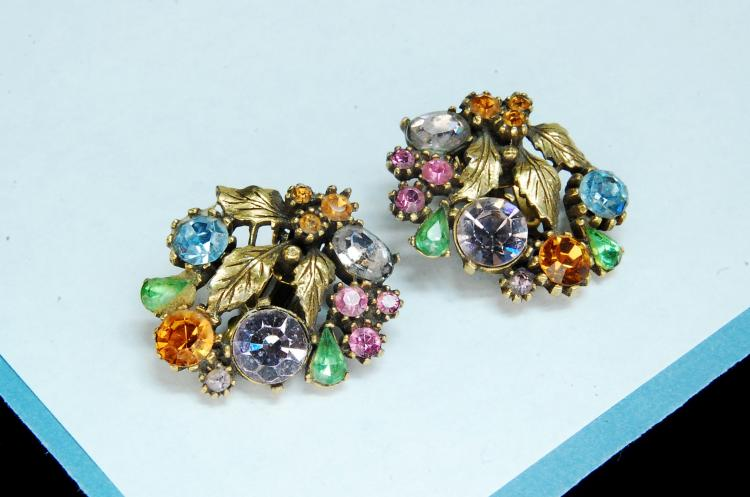 Lisner Colorful Rhinestone Clip-On Earrings