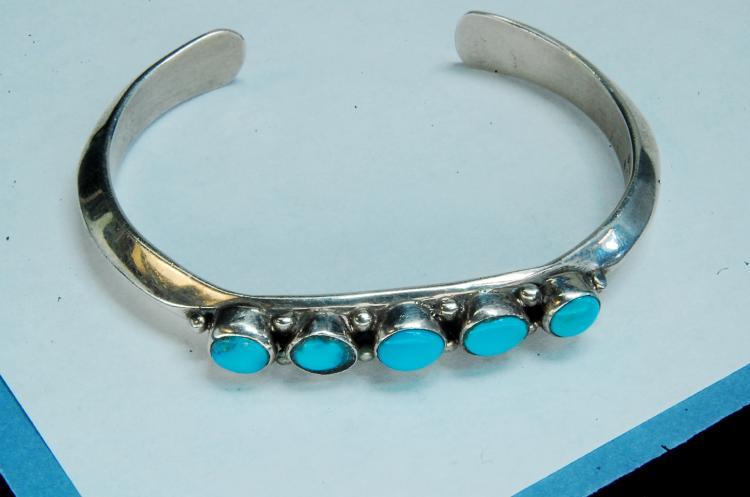 24.5g Sterling Turquoise B Tsina Jinie Bracelet