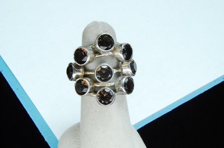 12.5g Sterling Smoky Topaz Ladies Ring Size 6