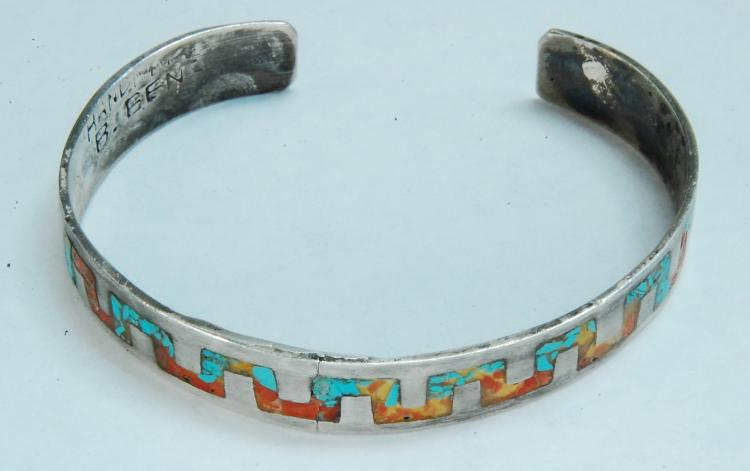 13.6g Sterling Signed B. EEN Inlaid Cuff Bracelet
