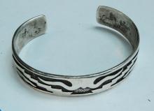 Lot 46: 23.6g Sterling Signed Hopi Cuff Bracelet