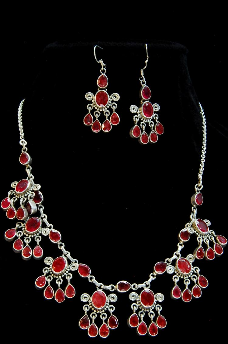 Lot 48: 74g Sterling Ruby Ladies Earring Necklace Set