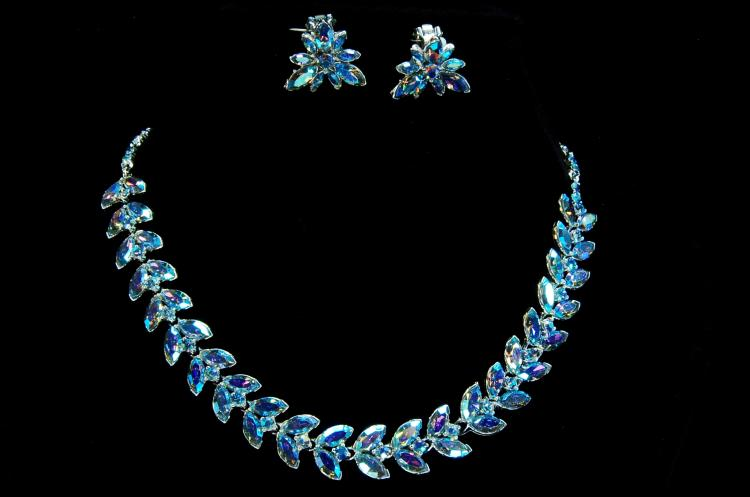 Vintage Costume Jewelry Rhinestone Necklace Set