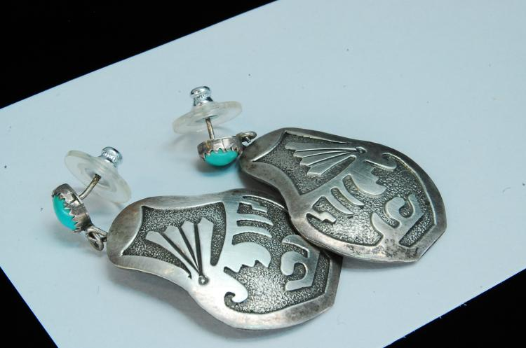 11g Sterling Turquoise Navajo Post Earrings