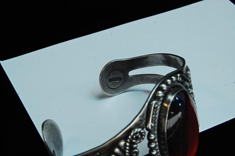 Lot 55: 49g Sterling Faux Opal Hopi Signed Cuff Bracelet