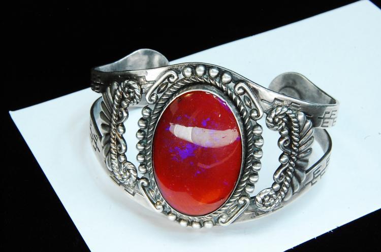 49g Sterling Faux Opal Hopi Signed Cuff Bracelet