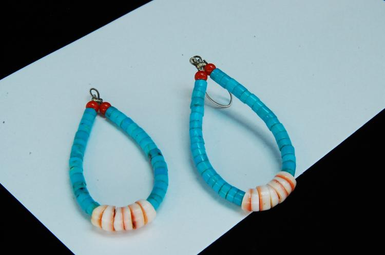 Vintage Turquoise Shell Beaded Navajo Earrings