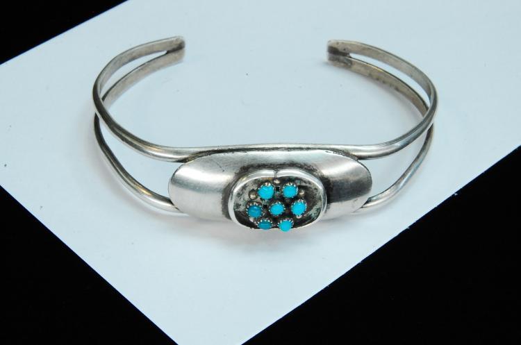 Vintage 11.5g Sterling Turquoise Navajo Bracelet