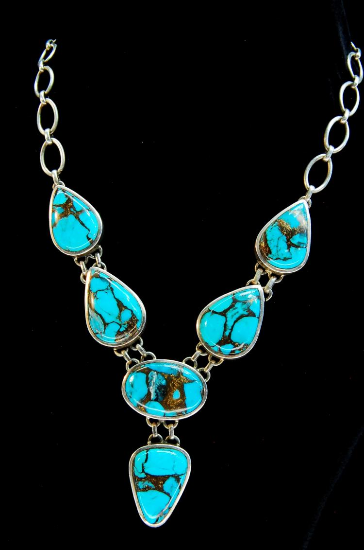 81g Sterling Turquoise Matrix Ladies Necklace