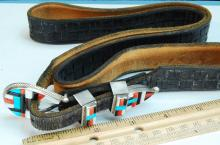 Lot 64: Leather Belt W/ Sterling Zuni Inlaid Buckle & Tip