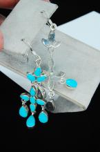 Lot 66: 7.6g Sterling Silver Turquoise Ladies Earrings
