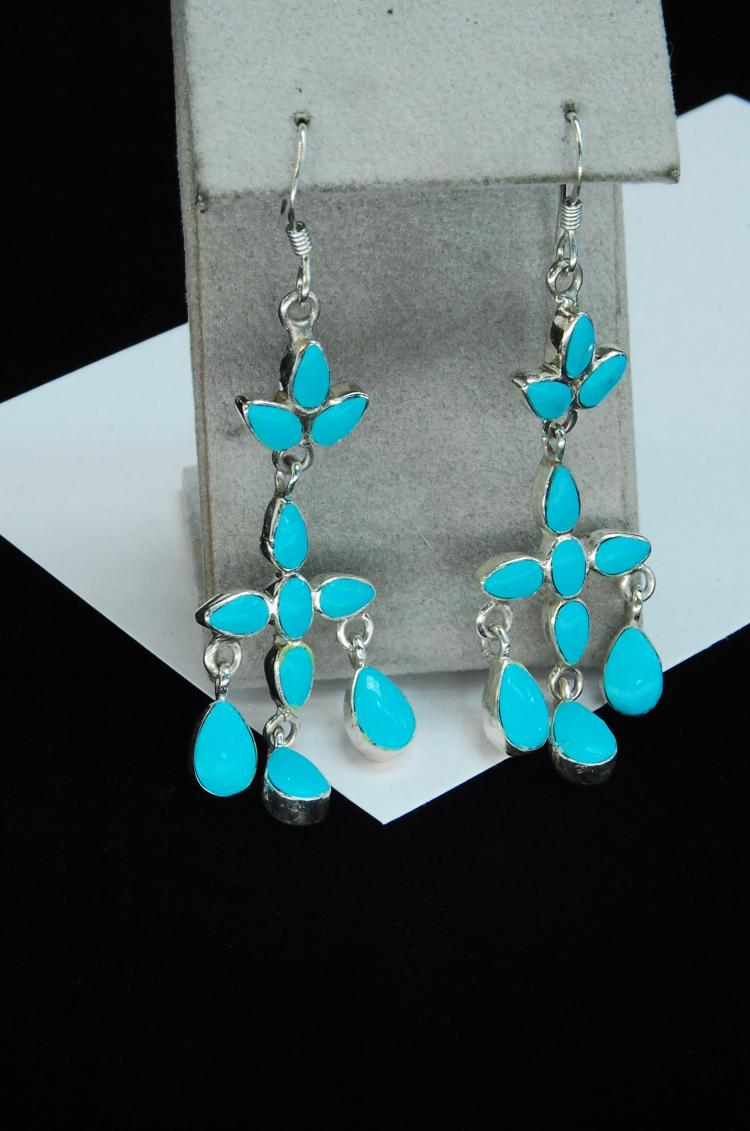 7.6g Sterling Silver Turquoise Ladies Earrings