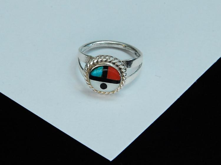 Sterling Silver Inlaid Zuni Sun Face Ring Size 3