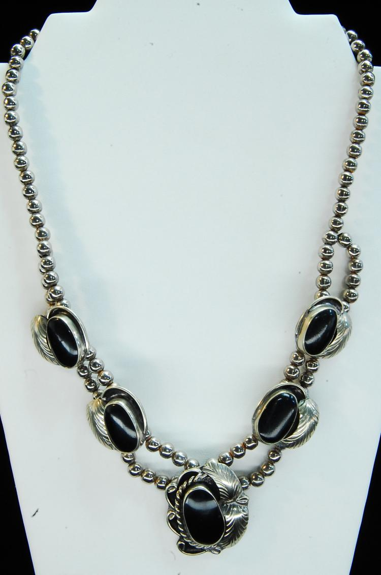 Nickel Silver Mexico Squash Blossom Style Necklace