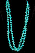 Lot 88: Sterling Turquoise Nugget Double Strand Necklace