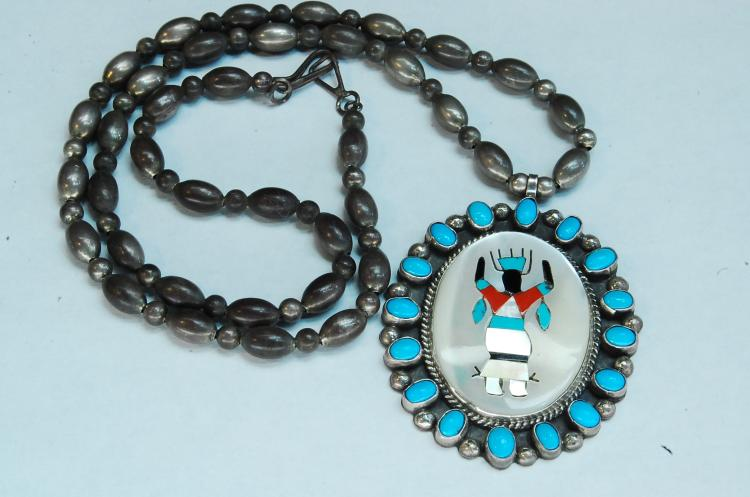 52g Sterling Navajo Inlaid Signed AT TKW Necklace