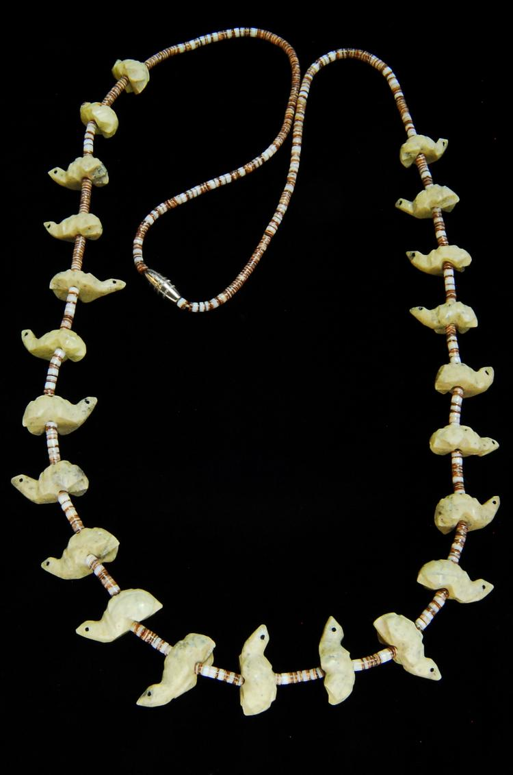 Lot 31: Vintage Carved Bone Turtle Fetish Zuni Necklace