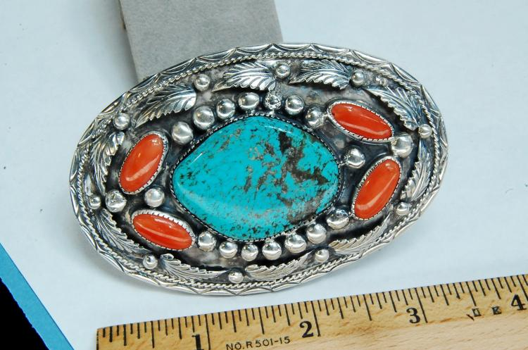 Lot 32: Vintage 58g Sterling Turquoise Coral Signed Buckle