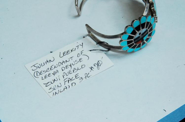 Lot 35: 29g Sterling Signed Zuni Pueblo Sun Face Bracelet