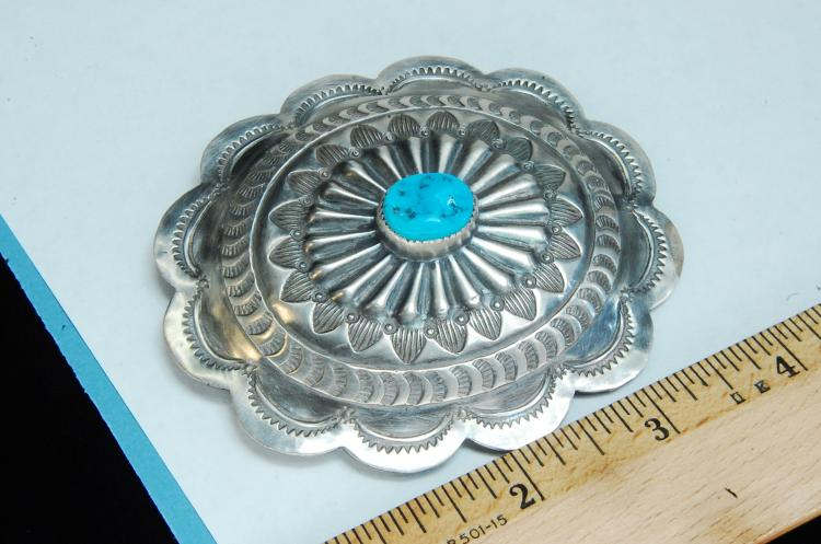 Lot 37: 67.5g Sterling Turquoise Concho Navajo Buckle