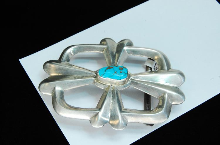Lot 77: 55g Sterling Turquoise Sand Cast Navajo Buckle