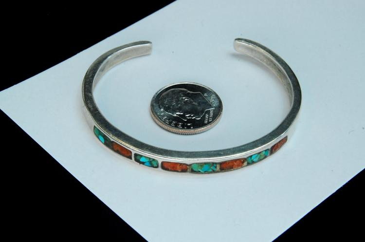14g Sterling Silver Inlaid Ladies Cuff Bracelet