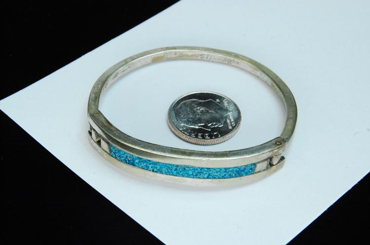 Vintage 14g Sterling Inlaid Hinged Bangle Bracelet