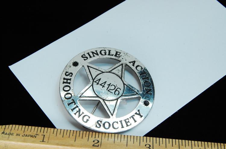 Lot 80: Vintage Single Action Shooting Society Badge