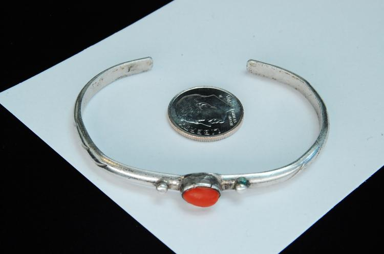 10g Sterling Coral Navajo Stamped Cuff Bracelet