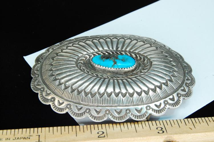 Lot 83: 35g Sterling Turquoise Navajo Stamped Buckle