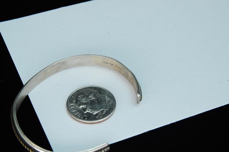 Lot 85: 6.4g Sterling 12K GF Small Signed W Cuff Bracelet