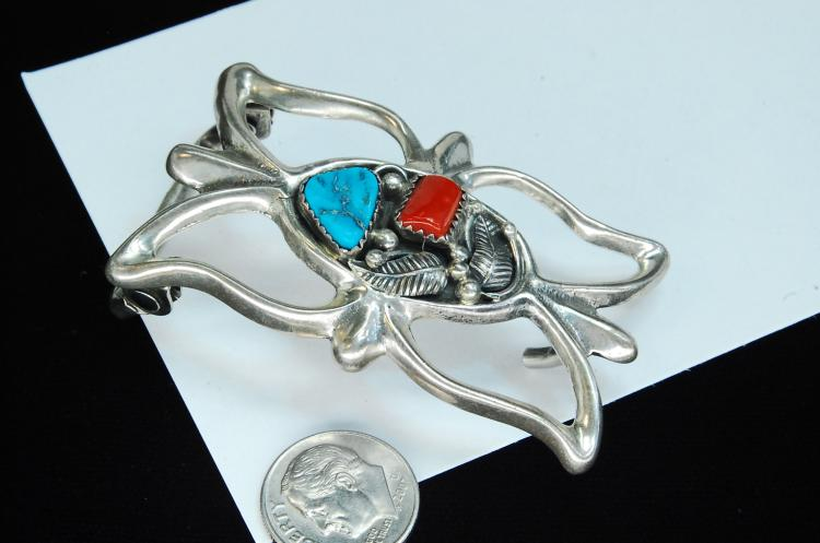 Lot 86: 28g Sterling Turquoise Zuni Signed AJW Buckle