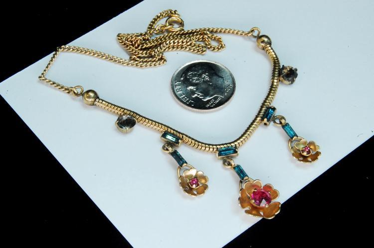 Lot 110: Vintage 12K GF Rhinestone Flower Necklace