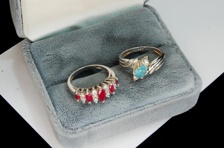 Lot 112: 5g Sterling Ruby Topaz Ladies Ring Lot Sz 5