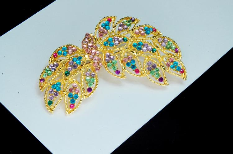 Vintage Goldtone Colorful Ladies Brooch