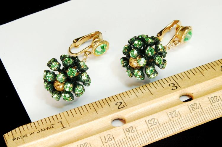 Lot 116: Vintage Green Rhinestone Ball Clip-On Earrings