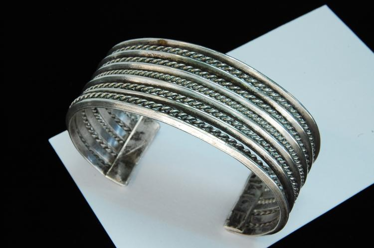 74g Sterling Silver Twisted Large Cuff Bracelet