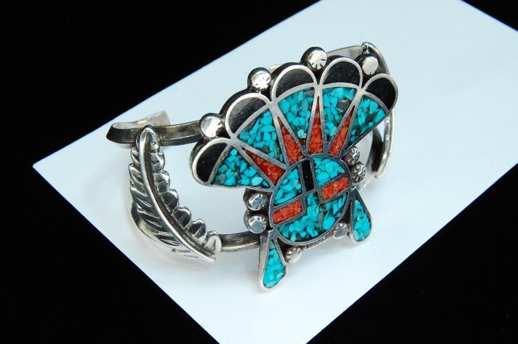 52g Sterling Zuni Inlaid Sun Face Cuff Bracelet