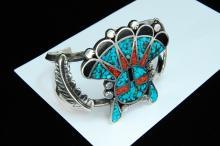 Lot 120: 52g Sterling Zuni Inlaid Sun Face Cuff Bracelet