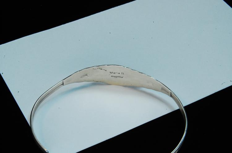 Lot 125: 7.3g Sterling Coral Signed Marie B Cuff Bracelet