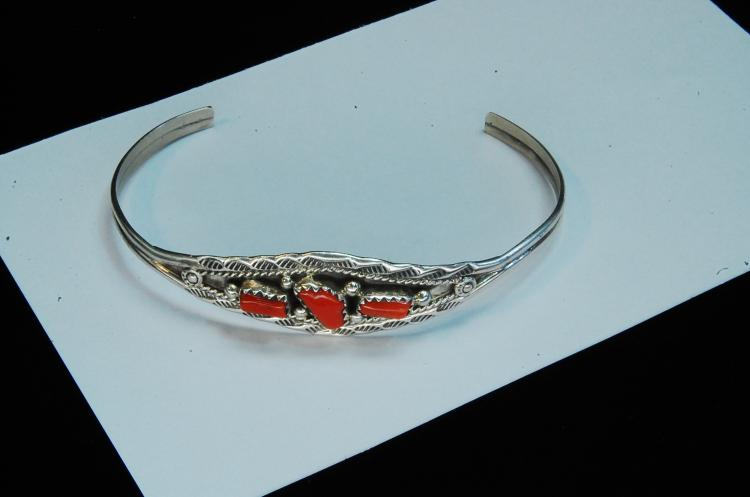 7.3g Sterling Coral Signed Marie B Cuff Bracelet