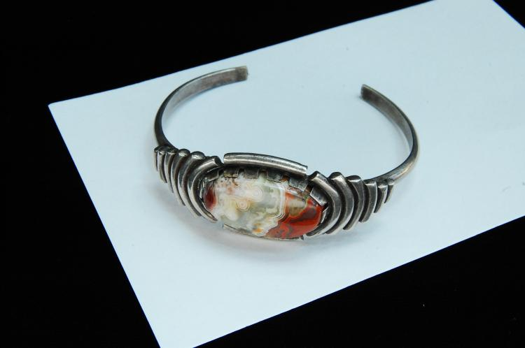 30g Sterling Silver Crazy Lace Agate Cuff Bracelet