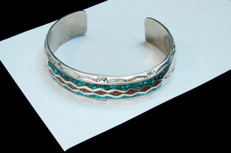 27g Sterling Navajo Inlaid Signed CJ Cuff Bracelet