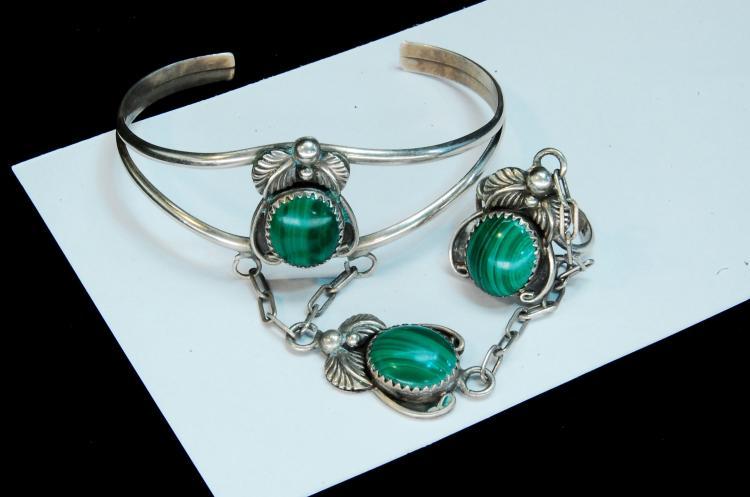 19.5g Sterling Malachite Slave Bracelet Size 6