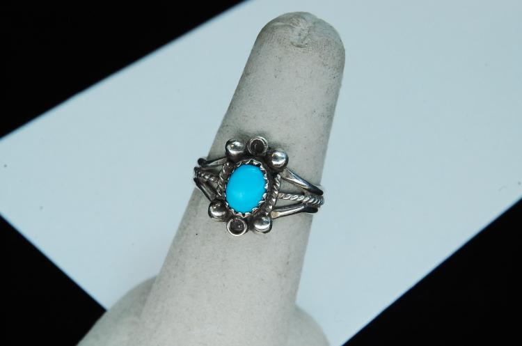 Lot 130: Sterling Turquoise Navajo Ring Size 7