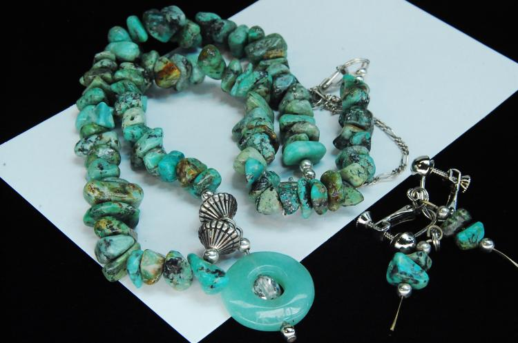 Turquoise & Jade Beaded Necklace Earring Set