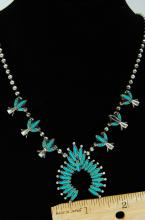 Lot 72: Zuni Style Costume Squash Blossom Necklace