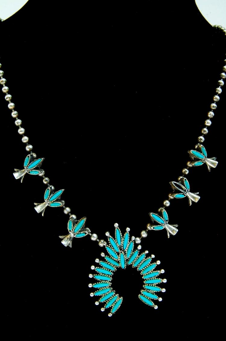 Zuni Style Costume Squash Blossom Necklace
