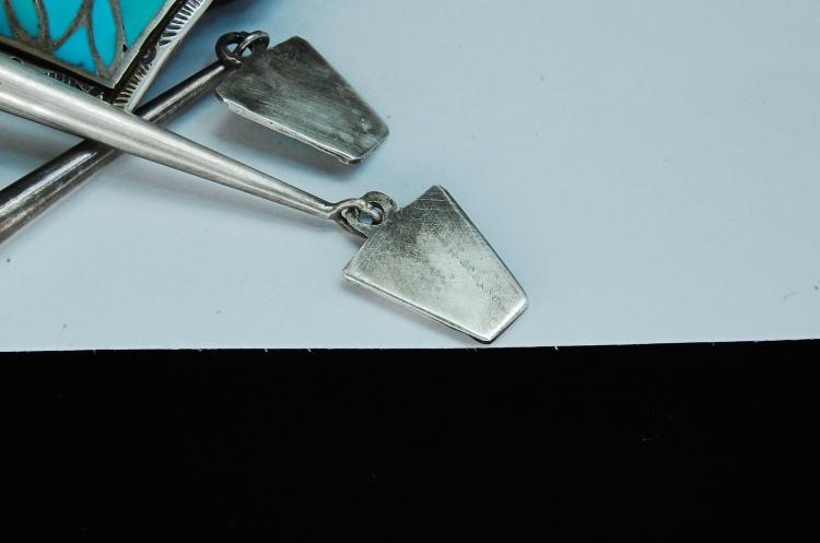 Lot 74: Sterling Turquoise Zuni Inaid Heckilay Bolo Tie