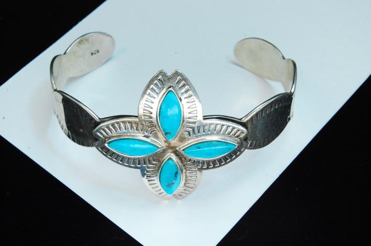 Modern 23g Sterling Turquoise Stamped Bracelet